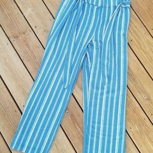 Ashley Blue Stripe Palazzo Pants Size XL
